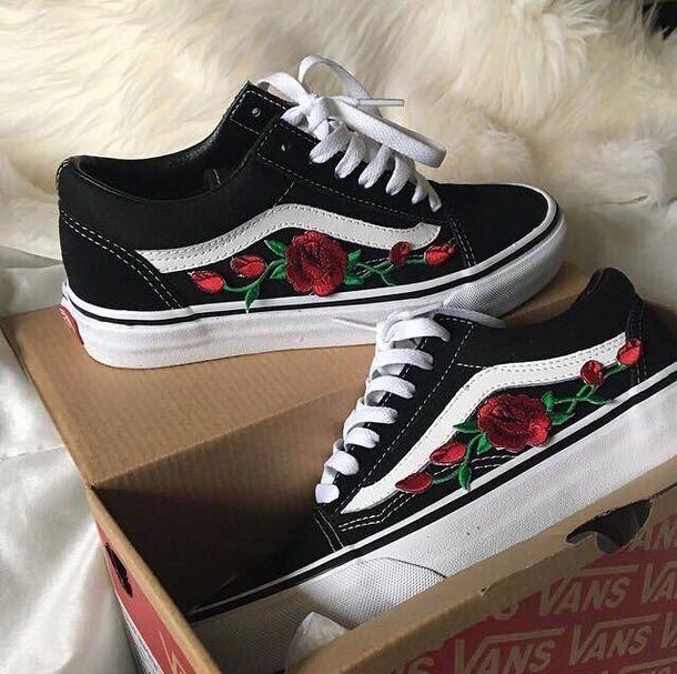 vans flores rosas