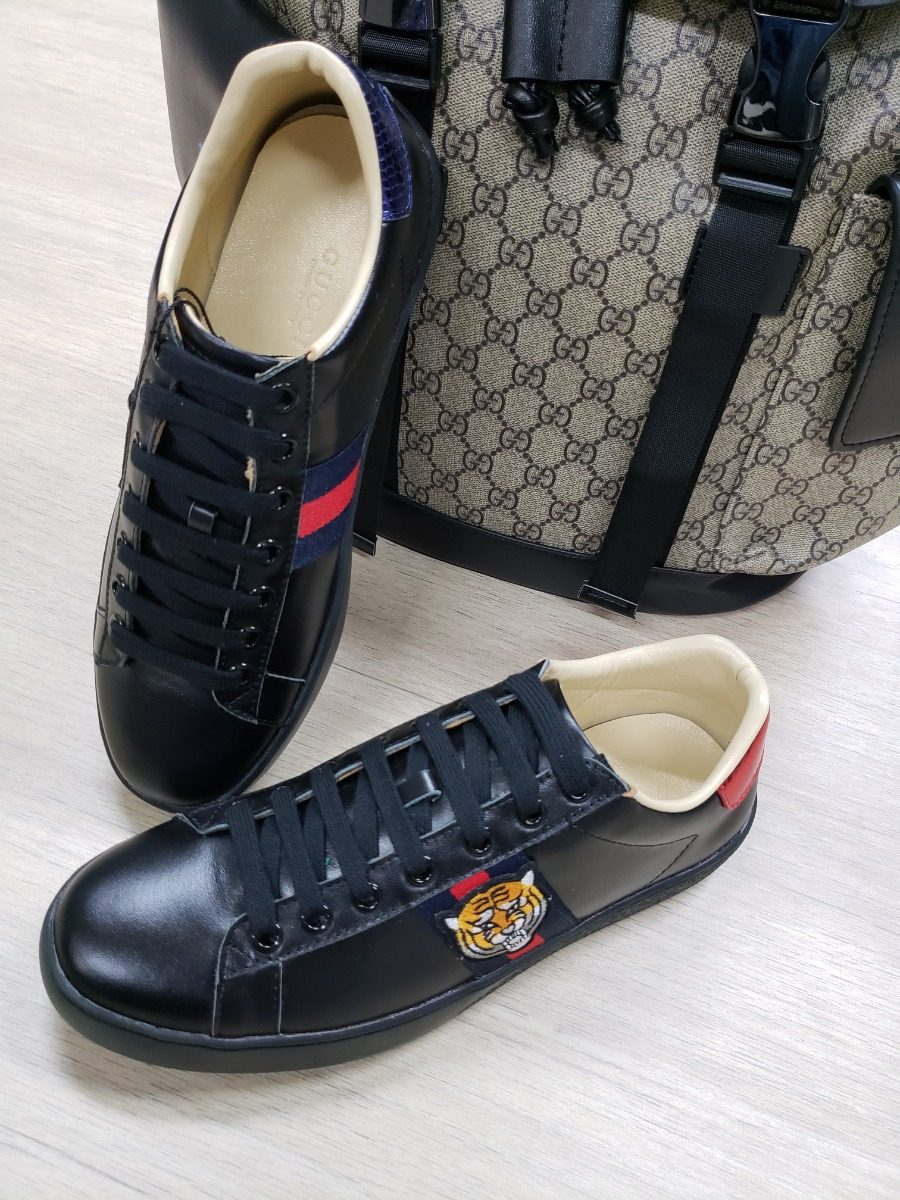 Tenis Zapatillas Zapatos Gucci Negros Tigre Hombre Mujer -   319.900 ... 5a63171fde3