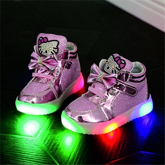 6b1dea079e1 Tenis Zapatos Hello Kitty Brillos Con Luz Led Varias Tallas ...