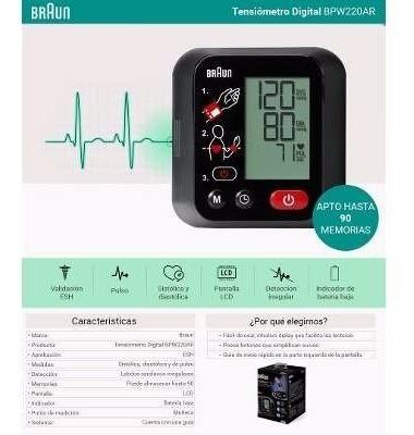 tensiometro braun digital de muñeca automatico bpw220ar
