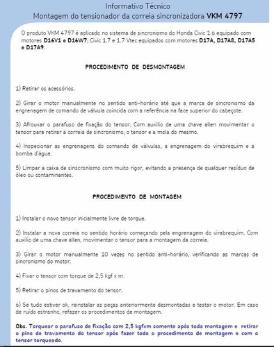 tensor esticador correia dentada honda civic 1.7 01/06 skf