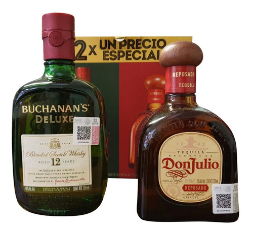 tequila don julio rep + whisky buchanans 12 años de 750 ml