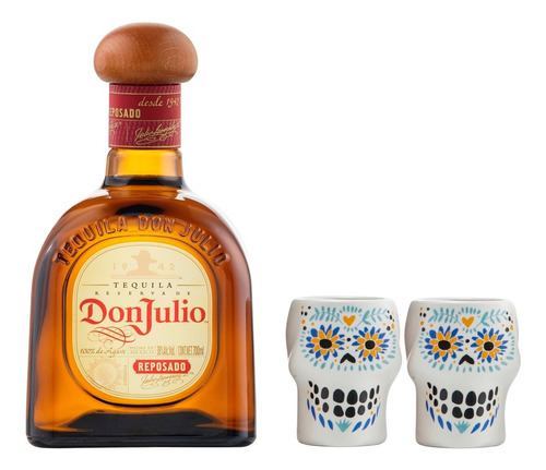 tequila don julio reposado de 700 ml + 2 caballitos calavera