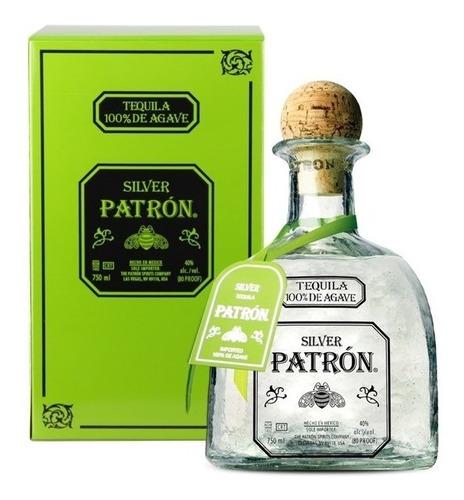 tequila patrón silver 100% agave de méxico con estuche