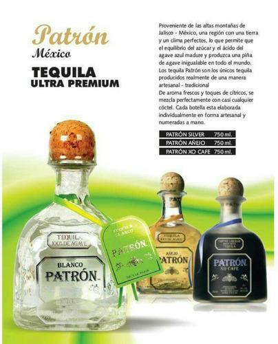 tequila patrón silver en caja