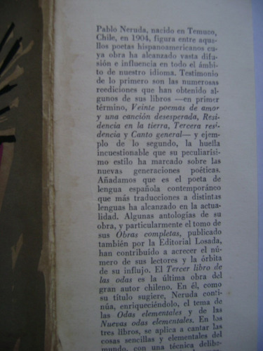 tercer libro de las odas / pablo neruda (primera edición)