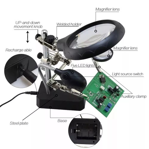 tercera mano tercer brazo lupa ayudant electrónica led te800
