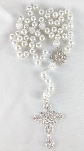 terço de noiva banho prata perolas brancas sagrado coração
