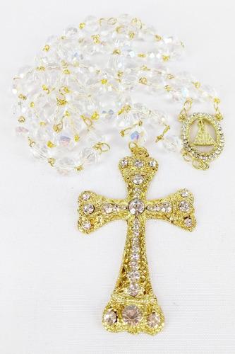 terço de noiva cristal boreal 10mm dourado