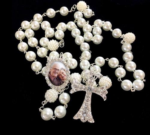terço de noiva pérolas crucifixo  medalha relicario com foto