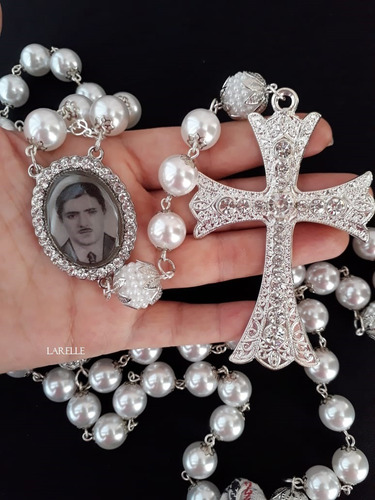 terço de noiva prata. com foto. medalha a escolher