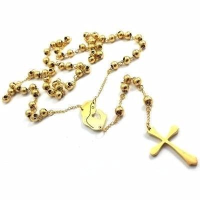 terço rosário oração aço inox 316l maciço 70cm