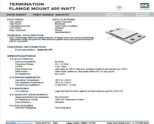 terminacion 50 ohm 400w modelo 32a1017f florida rf