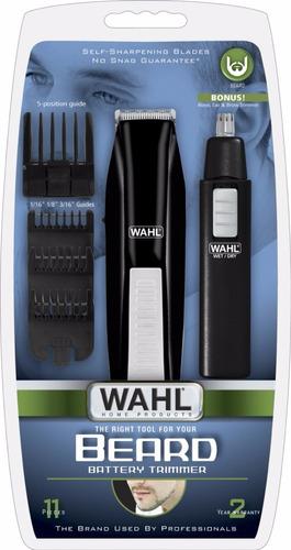 terminadora barba y cortadora vello nasal, oido wahl negra