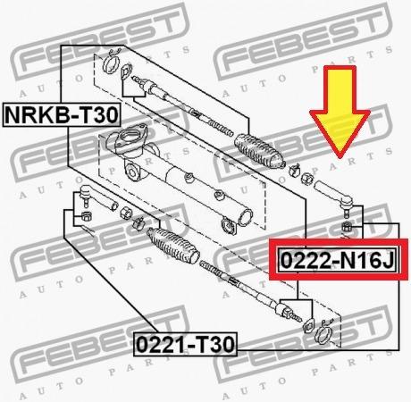 terminal axial rotula interno de dirección nissan xtrail t30
