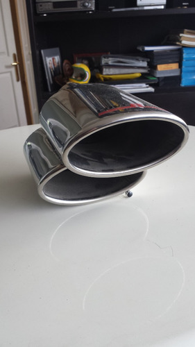 terminal escape acero inox. ovalado doble 12,5cm ancho 2pulg
