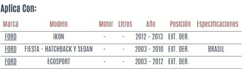 terminal exterior derecha ford fiesta sedan 2003 - 2010 vzl