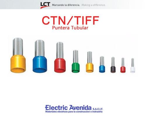terminales puntera 25mm tiff ctn pack x 100 unidades lct