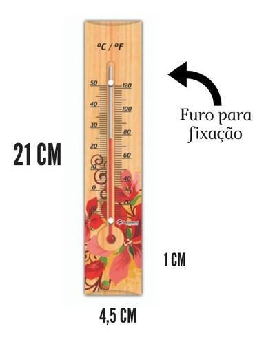 termômetro ambiente madeira floral 25cm -10+50c incoterm