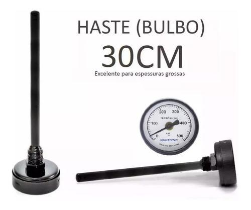 termômetro analogico 500 graus forno iglu a lenha haste 30cm
