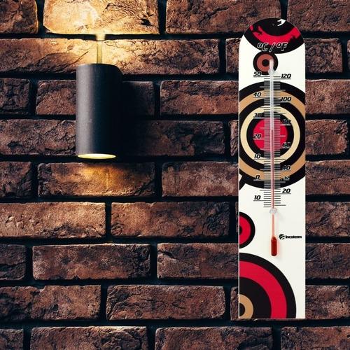 termômetro de parede em madeira para casa incoterm