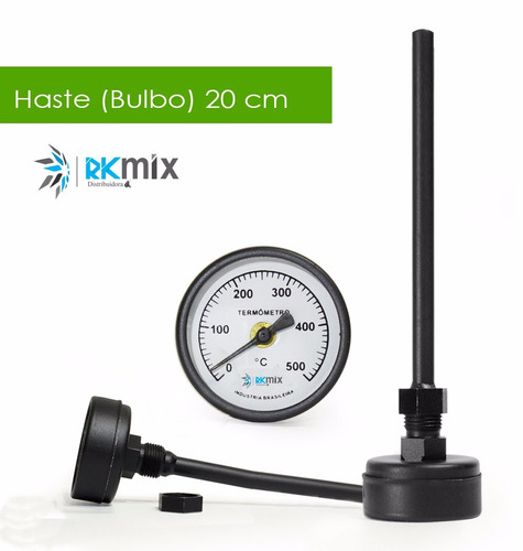 termômetro para forno elétrico c haste de 20cm de 0 a 500ºc