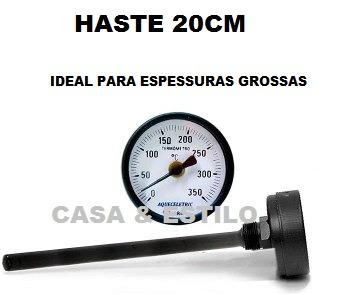 termômetro para forno iglu a lenha  haste grande 20cm 350ºc