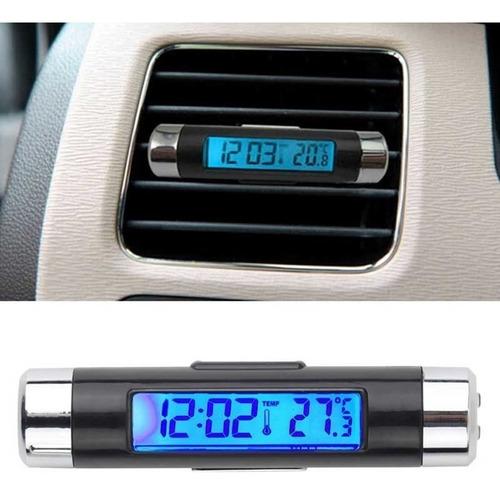 termômetro relógio digital automotivo lcd clipe led azul
