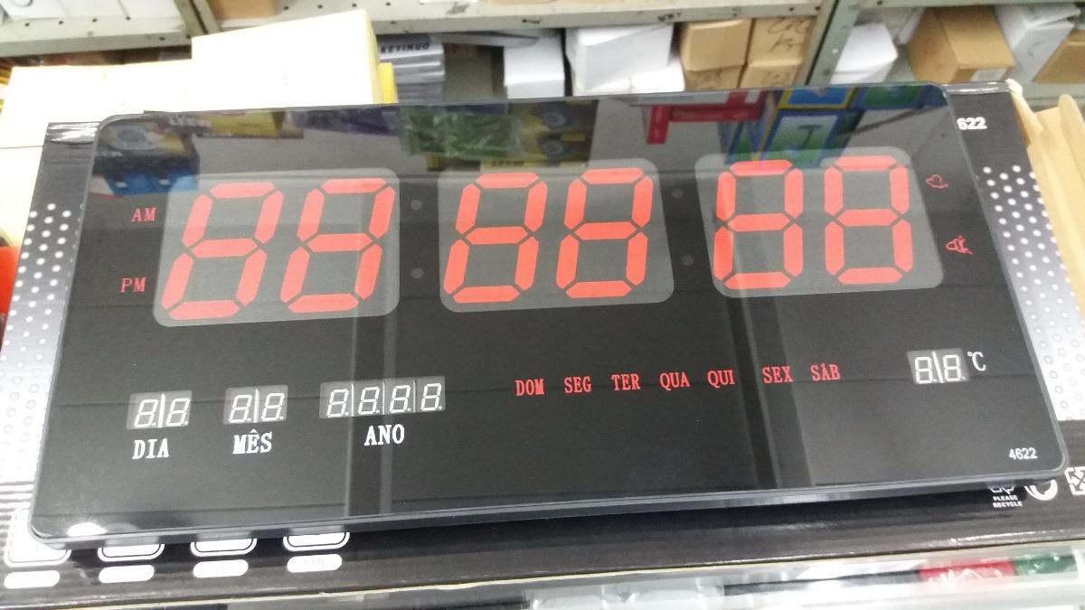 46797e64abb termômetro relógio digital grande led parede c calendário gp. Carregando  zoom.