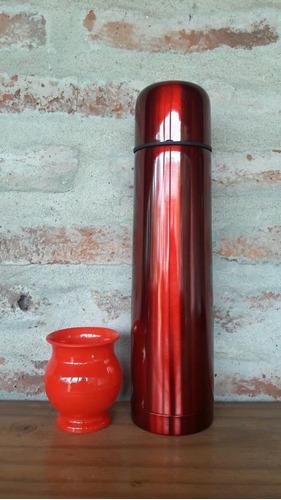 termo bala 1 litro  acero inox colores + mate+ bombilla