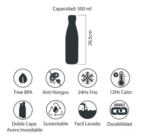 termo botella acero inoxidable tornasol plata/azul (a) nuevo 500ml por un mundo sin pet