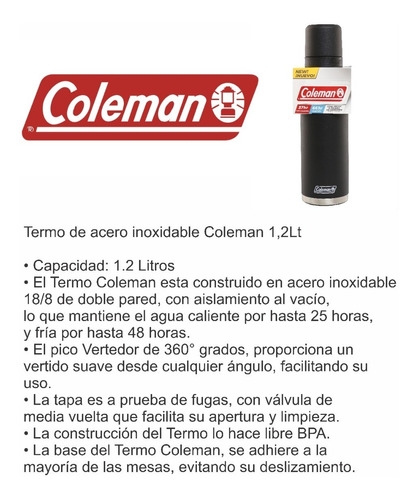 termo coleman 1,2 l acero inoxidable mas mate coleman 384ml