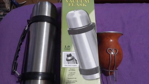 termo de acero con manija vacuum flask 1 l en caja y mate