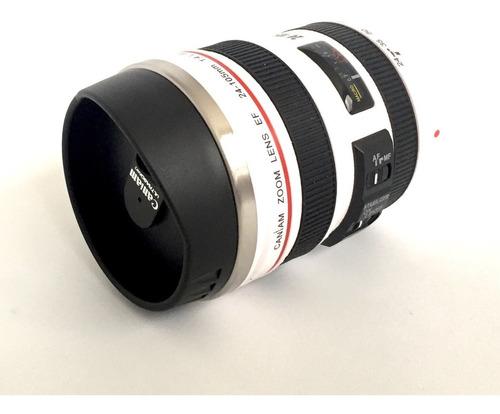termo forma de lente de cámara, interior de acero inox 360ml