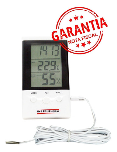 termo-higrômetro c/ função relógio sensor interno e externo