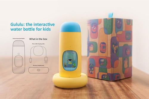 termo interactivo educativo gululu botella niños amarillo