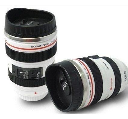 termo lente de cámara blanco, interior de acero inox 360ml