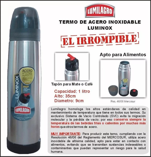 termo lumilagro acero inoxidable luminox 1 lt