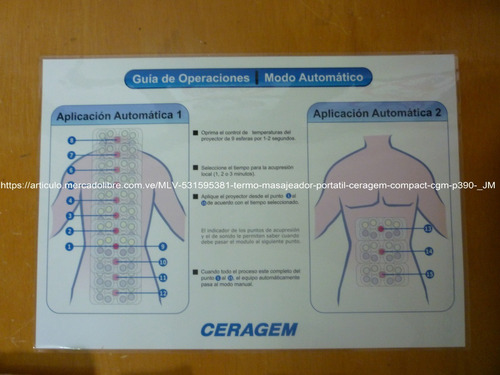 termo masajeador portátil ceragem compact cgm p390