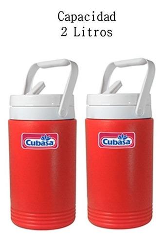 termo para agua de plástico cubasa rojo 2 pzs. cap. 2 litros