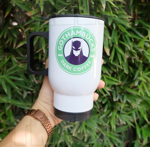 termo para café  batman estilo starbucks color blanco.