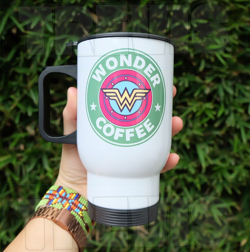 termo para cafe mujer maravilla / starbucks personalizado