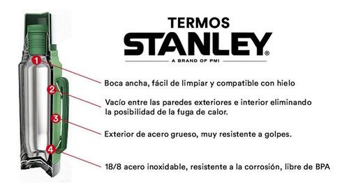 termo stanley 1lt acero inoxidable tapon cebador colores mm