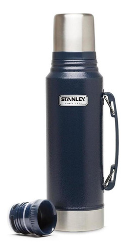 termo stanley clásico 1 lt azul con pico cebador acero inox