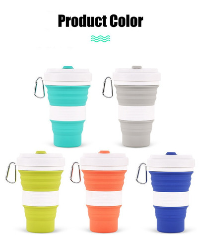 termo taza vaso plegable 550ml frío o caliente c/caja