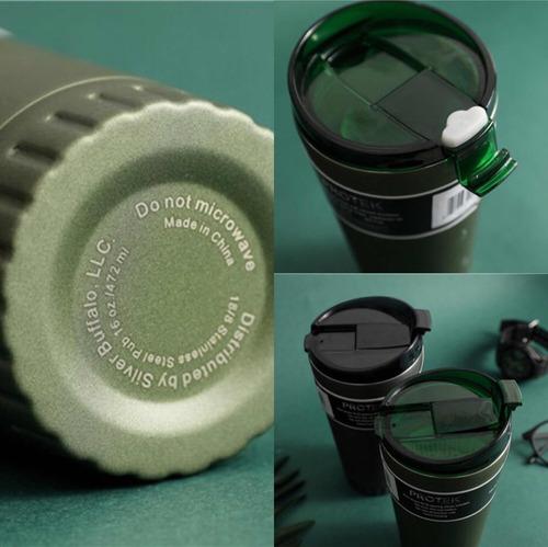 termo vaso acero inoxidable colores blanco y verde 473ml 1pz
