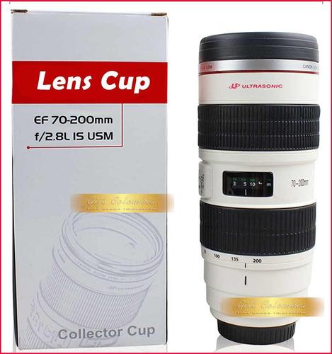 termo vaso mug forma de lente cámara canon  ef 70-200 1:2.8l
