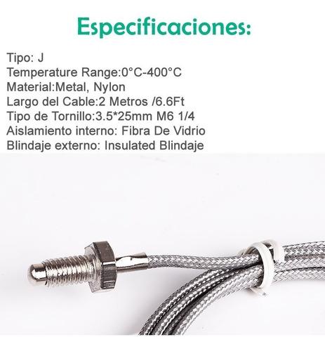 termocupla tipo j 0 a 400 grados °c 2 metros tornillo m6 1/4