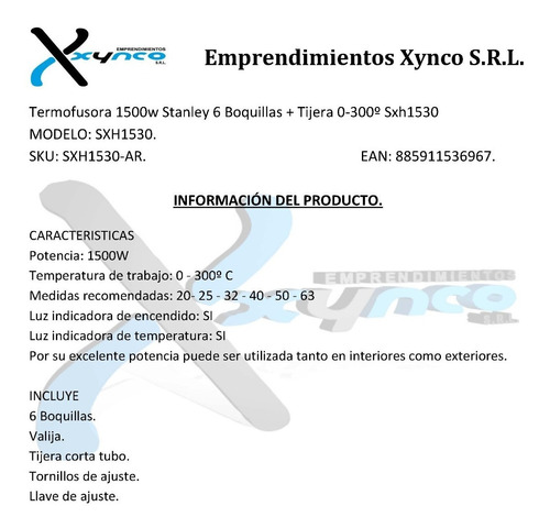 termofusora 1500w stanley 6 boquillas + tijera 0-300º sxh153