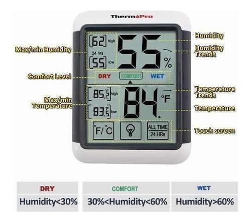 termohigrómetro, higrómetro, humedad termómetro tactil